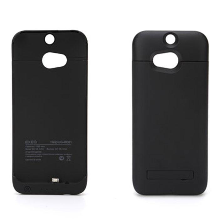 EXEQ HelpinG-HC01 чехол-аккумулятор для HTC One M8, Black (3300 мАч, клип-кейс)HelpinG-HC01 BLЧехол-аккумулятор Exeq HelpinG-HC01 – практичный и стильный аксессуар для смартфона HTC One M8 (one sim). Благодаря специальной конструкции HelpinG-HC01 прекрасно защитит заднюю панель смартфона от загрязнений и царапин, а благодаря встроенному аккумулятору емкостью в 3300 мАч позволит увеличить время работы вашего смартфона в 2 раза! Конструкция выполнена в миниатюрном форм-факторе – надежная защита задней панели и удачное боковое крепление смартфона в чехле. Благодаря такой конструкции и небольшому весу чехол незначительно увеличит габариты вашего смартфона, но при этом обеспечит его второй батареей.Для зарядки телефона от сети, его совсем не нужно извлекать из чехла - просто подсоедините зарядное устройство от телефона к чехлу и нажмите кнопку питания на чехле - телефон начнет заряжаться. Если кнопку питания не нажимать, то будет происходить зарядка. Уровень заряда чехла-аккумулятора демонстрируется при помощи четырех индикаторов заряда. Также для удобного использования телефона, чехол оборудован встроенной подставкой, которая позволит надежно закрепить телефон в горизонтальном положении, например для просмотра видео, чтения электронных книг.