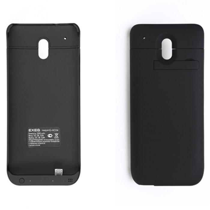 EXEQ HelpinG-HC04 чехол-аккумулятор для HTC One Mini, Black (2300 мАч, клип-кейс)HelpinG-HC04 BLЭлегантный дизайн Exeq HelpinG-HC04 не только прекрасно подойдет к дизайну вашего любимого смартфона, но и надежно защитит его от загрязнений, царапин, ударов даже во время самой активной эксплуатации. Встроенный в чехол аккумулятор емкостью в 2300 мАч обеспечит своевременную подзарядку смартфона и позволит продлить часы его работы как минимум в два раза – еще больше разговоров, интернет-серфинга, любимой музыки на вашем HTC ONE Mini!Для удобного просмотра видео, чтения электронных книг Exeq HelpinG-HC04 оборудован встроенной подставкой, которая позволит надежно закрепить телефон в горизонтальном положении. Заряжается чехол-аккумулятор от зарядного устройства телефона, причем заряжать оба устройства можно не извлекая телефон из чехла. Так для зарядки телефона просто подсоедините зарядное устройства к чехлу и нажмите кнопку питания на чехле, а для зарядки чехла просто подсоедините зарядное устройство к нему. Аналогично происходит и подключение телефона к компьютеру – чехол обеспечивает идеальную передачу данных между смартфоном и другими электронными устройствами.