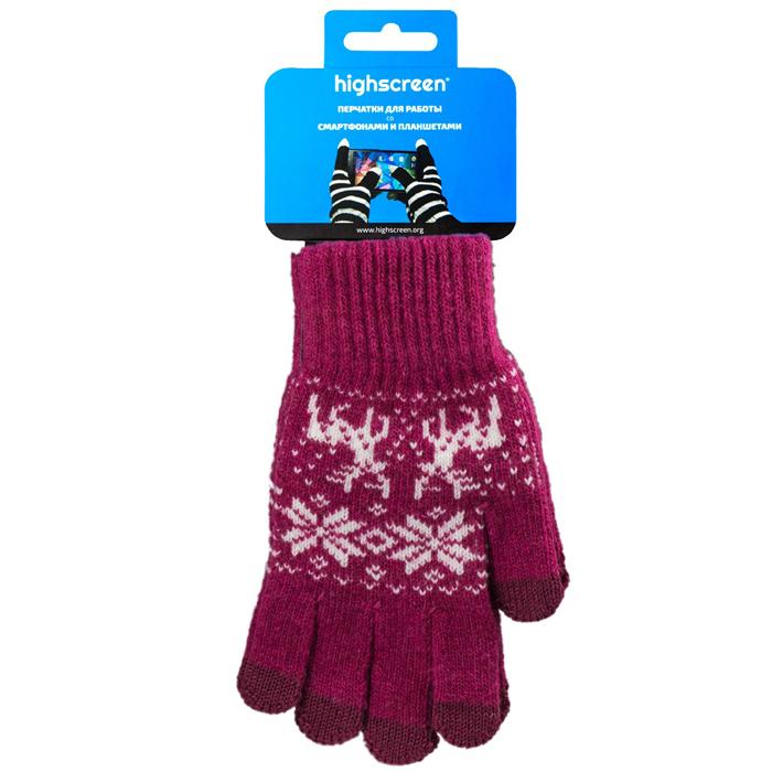 Highscreen Deer Series перчатки для сенсорных экранов, Red (ID03-133MEG)22319Перчатки Highscreen Deer Series - специально предназначены для работы со смартфонами и планшетами в холодное время года. Кончики пальцев прошиты по специальной технологии, что позволяет работать с сенсорными экранами, не снимая перчаток. Универсальный размер, дизайн подходит как для женщин, так и для мужчин.