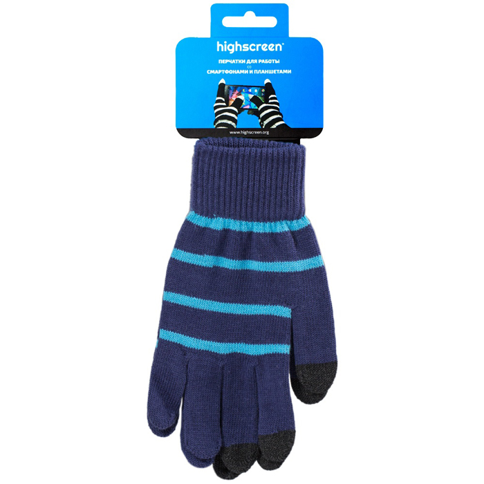 Highscreen Stripe Series перчатки для сенсорных экранов, Blue (ID03-100BLU)22324Перчатки Highscreen Stripe Series - специально предназначены для работы со смартфонами и планшетами в холодное время года. Кончики пальцев прошиты по специальной технологии, что позволяет работать с сенсорными экранами, не снимая перчаток. Универсальный размер, дизайн подходит как для женщин, так и для мужчин.