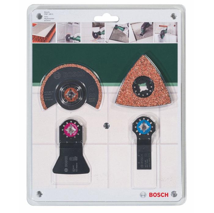 Набор оснастки Bosch по плитке для PMF, 4 шт2609256978Набор оснастки Bosch по плиткедля PMF способен выполнять самые различные технологические операции, такие, как пиление, шлифовка, резка, полировка.В набор входят:Сегментированный диск по фрезеровкеДельташлифпластина HM-Riff с твердосплавным напылениемПильное полотно по металлуЖесткий шабер