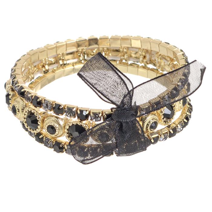 Браслет Bora, цвет: золотой, черный, фиолетовый. T-B-8384-BRAC-GL.JETГлидерный браслетИзысканный женский браслет Bora изготовлен из металлического сплава меди, цинка и железа. Он оформлен искусственными камнями и стразами. Изделие состоит из трех нитей, соединенных изящной лентой, завязанной в бант. Эластичная резинка обеспечивает идеальную посадку модели на руке. Браслет легко надевать и снимать.Это украшение позволит вам с легкостью воплотить самую смелую фантазию и создать собственный неповторимый образ. Красивое и необычное украшение блестяще подчеркнет ваш изысканный вкус и поможет внести разнообразие в привычный образ.