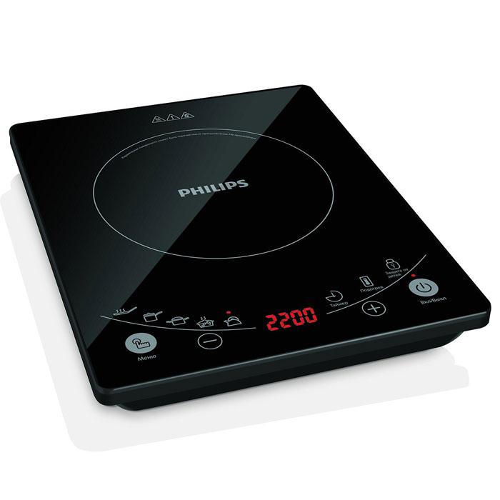Philips HD4959/40 индукционная плиткаHD4959/40Индукционная плитка PHILIPS HD 4959/4 сделает приготовление любимых блюд проще. Правильное питание - основа крепкого здоровья. Новая индукционная плитка Philips сокращает время приготовления на 40% и благодаря этому сохраняет питательные вещества. С ее помощью вы сможете приготовить самые разные здоровые и полезные блюда, а улучшенный дизайн панели управления сделает этот процесс проще и удобнее.6 программ приготовления полезных блюд с уникальной системой нагреваСтильный внешний вид благодаря стеклянной панели черного цветаПовышенная безопасность благодаря нескольким ступеням защиты и самопроверки6 уровней мощности для приготовления различных блюдКонструкция с отсеком для хранения шнура повышает удобство использованияСенсорное управление для максимального удобстваВысокая мощность работы 2200 Вт для быстрого приготовления блюдФункция защиты от детей для дополнительной безопасности на кухнеСпециальная емкость для индукционной плиты