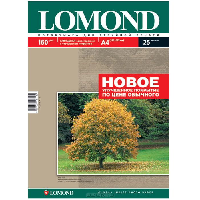 Lomond Photo 160/A4/25л бумага глянцевая односторонняя