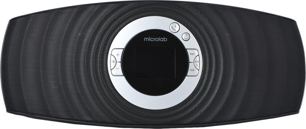 Microlab MD310 BT, Black портативная акустическая системаMD310 BT BlackФункциональная портативная акустическая система Microlab MD310 BT имеет полноцветный ЖК-экран отображения настроек размером 1,8 дюйма. Встроенное FMрадио имеет возможность автоматического сканирования и запоминания до 30 станций.При беспроводном подключении мобильного телефона по Bluetooth MD310 BT можно использовать как устройство громкой связи при звонках. Если звонок был совершен во время прослушивания музыки, то после окончания разговора воспроизведение медиафайла продолжится.Медиаплеер акустической системы может воспроизводить музыку с внешних носителей памяти – USBили SDcard. Разъемы для подключения носителей расположены на задней панели. Плеер может читать файлы формата mp3, WMA.Для персонального прослушивания к акустике можно подключить наушники через разъем на задней панели.Тогда система будет работать как обычный mp3 плеер. Электронные часы отображаются на весь ЖК монитор. Они хорошо видны с дальнего расстояния даже в темное время суток.Сменный аккумулятор позволяет использовать MD310 BT вне дома, например, на природе или в путешествии.