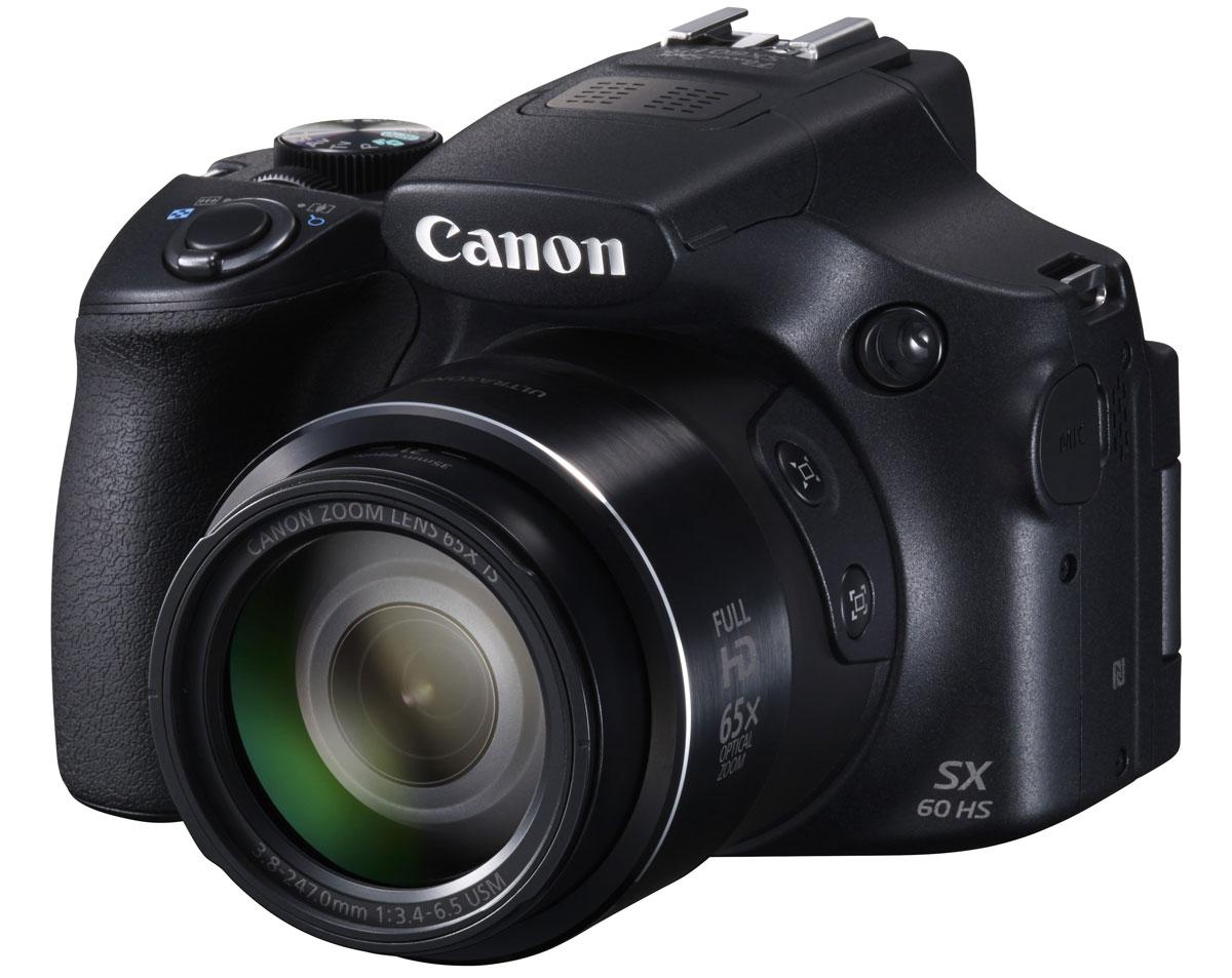 Canon PowerShot SX60 HS цифровая фотокамера9543B002Canon PowerShot SX60 HS - универсальная фотокамера с максимально высокой детализацией, зумом 65x и поддержкой Wi-Fi.Делайте снимки днем и ночью такими, какими вы их задумали. Система HS Canon — с процессором DIGIC 6 и датчиком CMOS с разрешением 16,1 МП — обеспечивает превосходное качество снимков и не имеет себе равных в условиях низкой освещенности. Поэтому с ее помощью легко запечатлеть подлинную атмосферу события без использования вспышки или штатива. Раскройте свой творческий потенциал. Снимайте фотографии и видеоролики в режиме полного управления экспозицией. Откройте для себя новые возможности с форматом RAW и аксессуарами для системы EOS. Снимайте самые разные объекты и получайте великолепные фотографии. Потрясающий 21-мм сверхширокоугольный объектив с зумом 65x подходит для съемки любых объектов, от дикой природы с максимальным приближением до впечатляющих пейзажей.Наслаждайтесь длительной съемкой и четкими снимками даже при максимальном увеличении благодаря улучшенной эргономичной ручке-держателю. Электронный видоискатель обеспечивает традиционное для зеркальной камеры положение и позволяет четко видеть объекты съемки при очень ярком освещении. Ультразвуковой мотор (USM) обеспечивает быструю, бесшумную фокусировку и зумирование. Теперь, благодаря системе интеллектуальной оптической стабилизации изображения, не нужно беспокоиться о том, что случайные сотрясения камеры могут испортить качество снимков. Эта камера настраивается автоматически и обеспечивает четкие и детализированные фотографии — даже при съемке с максимальным зумом или в условиях низкой освещенности. Кроме того, ваши видеоролики будут невероятно плавными благодаря улучшенной динамической стабилизации изображения по 5 осям.Снимать потрясающие видеоролики легко. Одним касанием кнопки вы можете снимать плавные, реалистичные видеоролики Full HD 60p с четким и чистым стереозвуком благодаря бесшумному управлению и зумированию. Вы также можете подклю