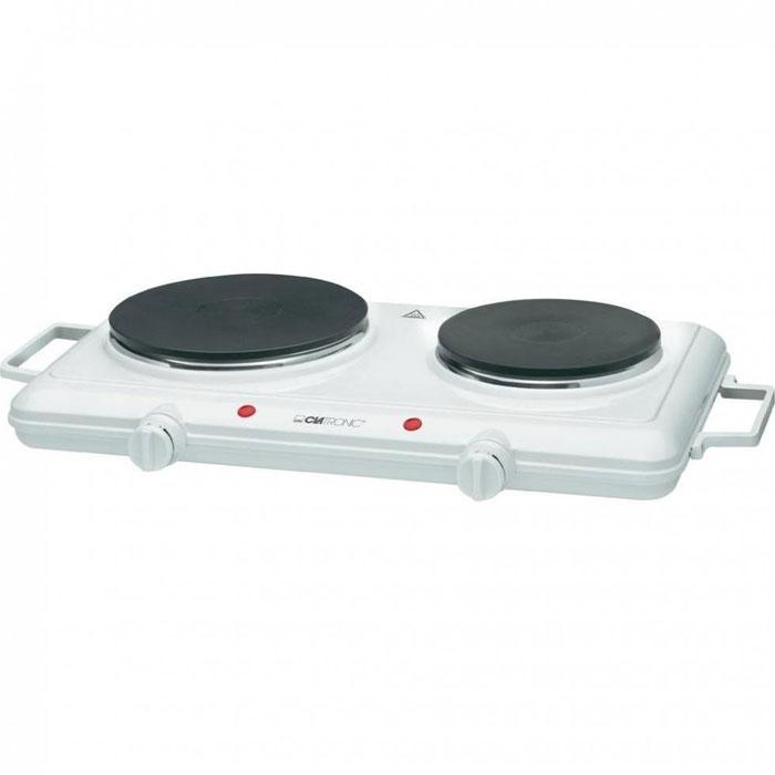 Clatronic DKP 3583, White настольная плиткаDKP 3583 wei?Компактная кухонная плита без духовки Clatronic DKP 3583 является отличной альтернативой большой кухонной плите в условиях ограниченного пространства или на даче. Работает кухонная плита от электричества, имеет достаточно компактные размеры и небольшой вес, что позволит переносить ее и устанавливать в удобном месте, а наличие двух боковых ручек создаст дополнительное удобство при транспортировке. Для более легкого регулирования мощности нагрева электрических конфорок предусмотрено 2 плавно регулируемых термостата и два световых индикатора. Безопасную и надежную эксплуатацию кухонной плиты Clatronic DKP 3583 обеспечивает прочная конструкция в сочетании с термоизолированным покрытием. В качестве нагревательного элемента используется обычная спираль, обеспечивающая быстрый и качественный нагрев.