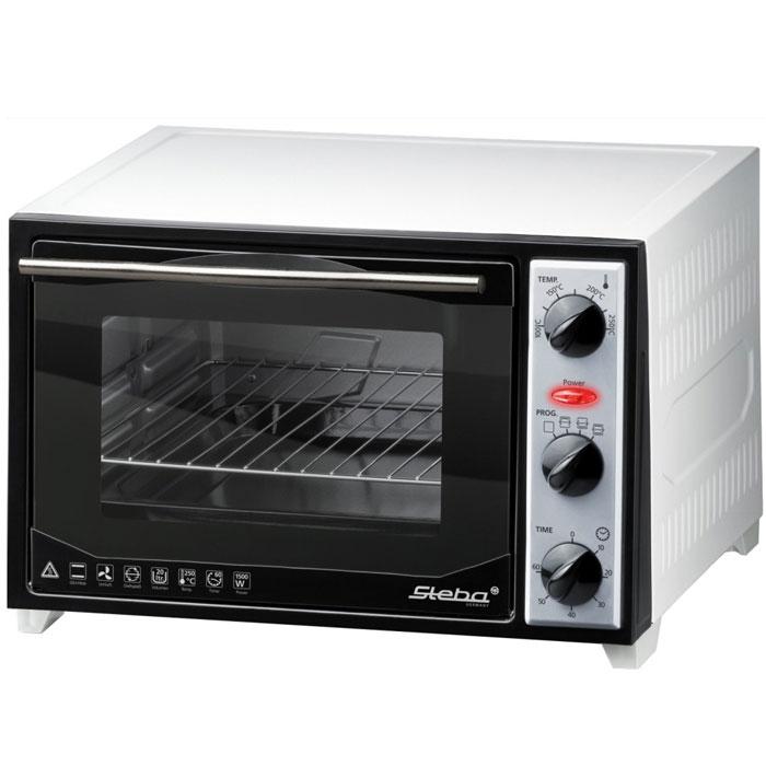 Steba KB 27 мини-печьKB 27Мини-печь Steba KB 27 U2 предназначена для приготовления горячих блюд, которая вполне может заменить стандартный духовой шкаф. Общий объем камеры равен 20 л, что позволяет приготовить ужин для всей семьи. Верхний и нижний гриль, включаются по одному или совместно. Селектор температуры для различных режимов работы (от 100°C до 250°C). Мини-печь выполнены из металла, а дверца из двойного термостойкого стекла. В комплект входит противень с эмалированным покрытием, сетка гриля, вертел.Внутренний размер печи: 31 х 30 х 22 см