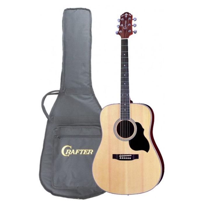 Crafter MD-40/N акустическая гитара + чехолMD 40/NАкустическая гитара Crafter MD-40/N - это модель из, пожалуй, самой популярной серии гитар Crafter! Эти инструменты, имеют верхнюю деку из шпона ели, что обеспечивает им значительно более привлекательную стоимость. Не стоит относиться к этому предвзято, правильно сделанная фирменная гитара звучит так же хорошо, а может быть и лучше, чем большинство «ноу-нэйм» инструментов с верхней декой из массива. Более того, шпон гораздо менее капризен и подвержен влиянию влаги и температуры. Нижняя дека и обечайки гитары изготовлены из красного дерева, которое не только хорошо сочетается с елью внешне, но и дополняет её яркий прозрачный звук своей теплотой и певучестью. Натуральный цвет инструмента с прозрачным глянцевым лаком хорошо передает естественную красоту дерева, гармонично сочетаясь с любой окружающей обстановкой.Форма корпуса «дредноут» - это, пожалуй, самая популярная форма акустических гитар. Разработанный компанией Martin в 20-х годах прошлого столетия, «дредноут» до сих пор считается стандартом для вестерн-гитар, который с успехом используется большинством производителей и огромным числом музыкантов, играющих в самых различных стилях. Эти корпуса имеют несколько больший размер, чем классические или оркестровые гитары, а звучание имеет явный акцент на низкие частоты.