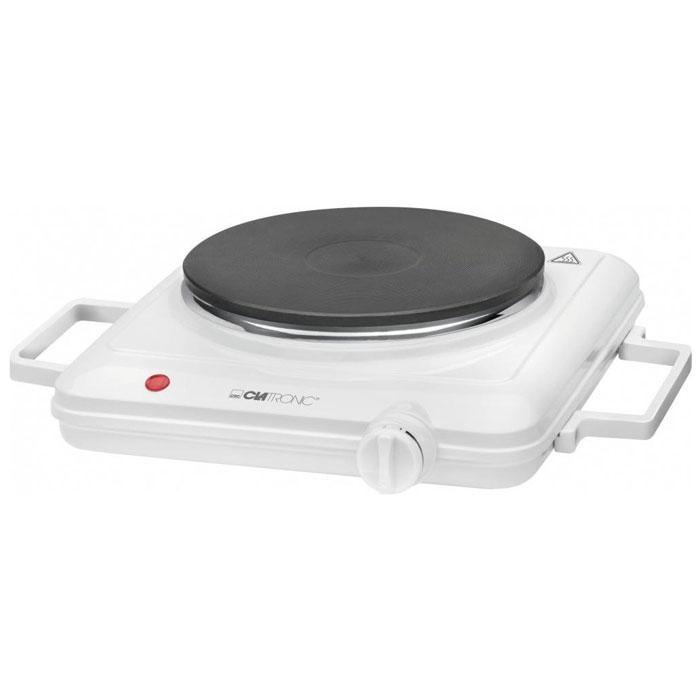 Clatronic EKP 3582, White настольная плиткаEKP 3582 wei?Clatronic EKP 3582 - одноконфорочная настольная электроплита. Прибор безопасен и прост в использовании. Плитка имеет бесступенчатый регулируемый термостат и индикатор включения. Зона нагрева представляет собой конфорку диаметром 18 см. Термостойкая отделка и съемные ручки для переноски обеспечивают максимальный комфорт при повседневной эксплуатации электроплитки.