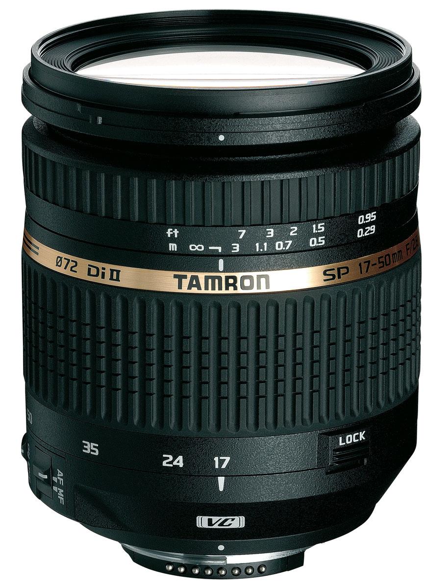 Tamron SP AF 17-50mm F/2.8 XR Di II LD VC Aspherical (IF), CanonB005ETamron SP 17-50mm F/2,8 XR Di II - для цифровых однообъективных зеркальных фотокамер с матрицей формата APS-C.Являясь уникальной инновационной оптической системой, этот компактный, легкий, высокоэффективный стандартный зум-объектив (эквивалентный диапазон фокусных расстояний 26–78 мм) обеспечивает быструю работу диафрагмы F/2,8 во всем своем диапазоне фокусных расстояний, способствуя максимальной гибкости творческого процесса. Для поддержания критически важного уровня контрастности при съемке с рук в нем предусмотрена компенсация вибраций (VC, Vibration Compensation) – новейшая система пространственной стабилизации изображения Tamron. Трехкомпонентные асферические элементы, специальное стекло класса LD и покрытия BBAR (с широкополосным просветлением) обеспечивают превосходную коррекцию, точность воспроизведения цвета и отсутствие бликов. Минимальное фокусное расстояние 0,29 м делает возможным получение восхитительных изображений крупного плана.