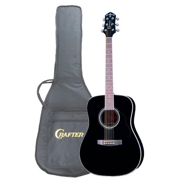 Crafter MD-58/BK, Black акустическая гитара + чехолMD 58/BKАкустическая гитара Crafter MD-58/BK – это модель из, пожалуй, самой популярной серии гитар CRAFTER! Эти инструменты, имеют верхнюю деку из шпона ели, что обеспечивает им значительно более привлекательную стоимость. Не стоит относиться к этому предвзято, правильно сделанная фирменная гитара звучит так же хорошо, а может быть и лучше, чем большинство «ноу-нэйм» инструментов с верхней декой из массива. Более того, шпон гораздо менее капризен и подвержен влиянию влаги и температуры. Нижняя дека и обечайки гитары Crafter MD-58/BK изготовлены из красного дерева, которое не только хорошо сочетается с елью внешне, но и дополняет её яркий прозрачный звук своей теплотой и певучестью. Чёрный цвет никогда не выходит из моды и вместе с прозрачным глянцевым лаком подчёркивает строгий стиль инструмента.Форма корпуса «дредноут» – это, пожалуй, самая популярная форма акустических гитар. Разработанный компанией Martin в 20-х годах прошлого столетия, «дредноут» до сих пор считается стандартом для вестерн-гитар, который с успехом используется большинством производителей и огромным числом музыкантов, играющих в самых различных стилях. Эти корпуса имеют несколько больший размер, чем классические или оркестровые гитары, а звучание имеет явный акцент на низкие частоты.