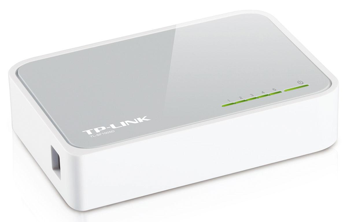 TP-Link TL-SF1005DTL-SF1005DКоммутатор Fast Ethernet TP-Link TL-SF1005D предназначен для использования дома или в небольшом офисе, а также в рабочих группах.Все 5 портов поддерживают технологию авто-MDI/MDIX, не нужно беспокоится о типе кабеля, просто воткните кабель в устройство. Более того, благодаря инновационной энергосберегающей технологии коммутатор TL-SF1005D позволит сберечь до 70% потребляемой электроэнергии. 80% упаковочного материала может быть использовано вторично. Поэтому коммутатор является экологически-безопасным решением для Вашей деловой сети.Превосходные рабочие характеристикиКоммутатор Fast Ethernet TL-SF1005D оснащен 5 портами 10/100 Мбит/с с автосогласованием и разъемами RJ45. Все порты поддерживают функцию авто-MDI/MDIX, устраняя необходимость использования кабеля с перекрещивающимися парами или портов с поддержкой функции Uplink. Благодаря использованию неблокирующей архитектуры коммутатор TL-SF1005D может передавать и фильтровать пакеты на максимально возможной для сетевой среды скорости для обеспечения максимальной пропускной способности. Значительным образом улучшена передача файлов большого размера за счет использования Jumbo-кадров размером 10 Кбайт. Контроль потока IEEE 802.3x для полнодуплексного режима и контроль обратного потока для полудуплексного режима помогают избежать перегрузок и обеспечивают надежную передачу данных, благодаря чему работа коммутатора отличается большой надежностьюЭнергосберегающая технологияКоммутатор Fast Ethernet нового поколения TL-SF1005D оснащен новейшими энергосберегающими технологиями, с помощью которых можно увеличить пропускную способность Вашей сети со значительно меньшими энергозатратами. Устройство автоматически выбирает режим питания в зависимости от статуса соединения и длины кабеля для того, чтобы сберечь электроэнергию и тем самым ограничить количество выбросов углерода, совершаемых при ее выработке.Устройство также соответствует требованиям директивы 2002/95/EC (RoHS), запрещающей использовани