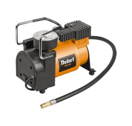 Компрессор автомобильный Defort. DCC-25598299762Автомобильный компрессор применяется для накачки автомобильных шин, мячей, надувных матрасов, велосипедных шин и т.д. Компрессор оснащен манометром и штекером для подключения к 12-вольтовому разъему прикуривателя автомобиля.Встроенная лампа работает в нескольких режимах. Для включения лампы и выбора нужного режима достаточно нажать несколько раз на рассеиватель лампы.В комплект к компрессору входит сумка-чехол, закрывающаяся на застежку-молнию, с удобной для переноски ручкой и насадка-переходник.Материал: пластик, металл, резина.Размер компрессора: 17 см х 8,5 см х 15,5 см.Напряжение бортовой сети автомобиля: 12 В.Мощность: 150 Вт.Производительность: 25 л/мин.Скорость холостого хода: 5000 об/мин.Максимальное давление: 7 бар.Вес: 1,6 кг.