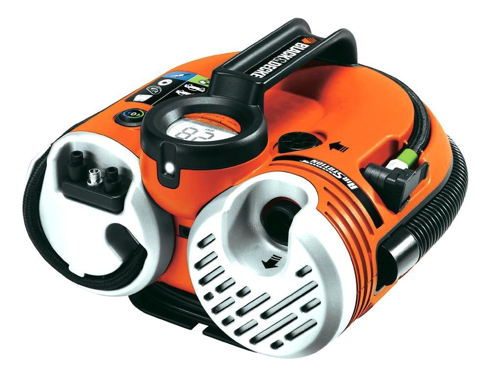 Автомобильный компрессор Black&Decker ASI500ASI500Универсальный компрессор Black&Decker ASI500 с возможностью работы от встроенного аккумулятора и предустановкой необходимого давления, предназначенный для накачивания шин легковых автомобилей, квадроциклов, мотоциклов, велосипедов, надувных матрацев и спортивного инвентаря. Рабочее давление: 0-8,3/0-11,3 бар.
