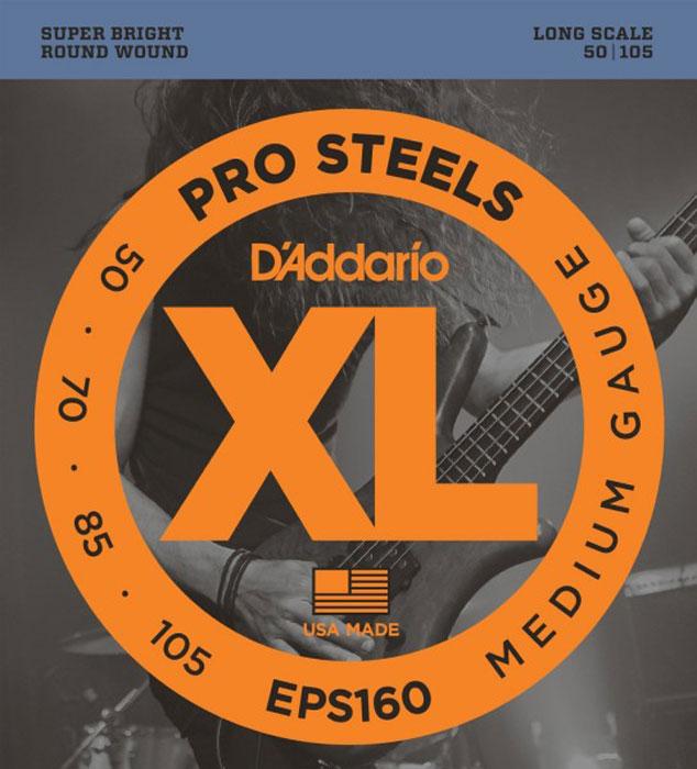 DAddario EPS160 струны для бас-гитарыEPS160Струны для 4-х струнной бас-гитары DAddario EPS160 для бас-гитары отлично подходят как для игры пальцами так и для агрессивной игры медиатором. Прозрачное звучание в верхнем регистре и глубокие низы.MediumLong ScaleG-50, D-70, A-85, E-105