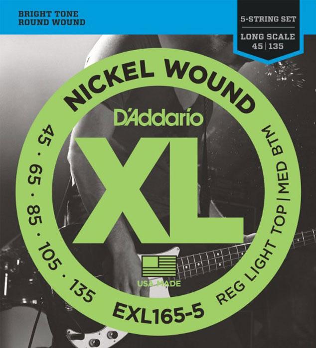 DAddario EXL165-5 струны для бас-гитарыEXL165-5Струны DAddario EXL165-5 дляпятиструнной бас гитары с никелированным покрытием, которые прекрасно подходят для всех стилей.Натяжение: Regular Light Top/Medium BottomLong ScaleG-45, D-65, A-85, E-105, B-135