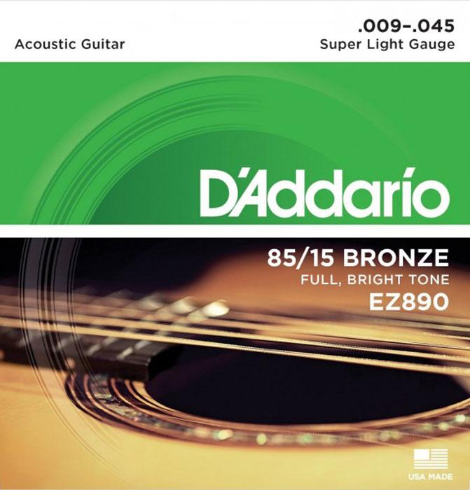 DAddario EZ890 струны для акустической гитарыEZ890Струны DAddario EZ890 для акустической гитары с бронзовым покрытием обеспечивают яркий, насыщенный тон звучания.Обмотка: бронза 85/15 Натяжение: Super LightТолщина: 0.009-0.012-0.015-0.025-0.035-0.045
