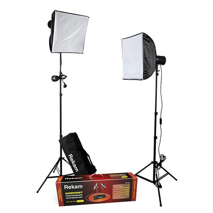 Rekam Mini-Light Ultra M-250 SB Kit комплект ламп-вспышек60-PC250J/K2SBКомплект Rekam Mini-Light Ultra M-250 SB Kit продолжает развитие серии комплектов осветительного оборудования мини-формата. Данный комплект представляет собой отличное решение для небольшой фотостудии, и может использоваться для любого вида студийной съемки – портретной, групповой, предметной.В основе комплекта два компактных импульсных осветителя-моноблока с плавной регулировкой мощности до 250 Дж. Моноблок имеет встроенные 2-лепестковые шторки для регулировки количества и направления света. При транспортировке и хранении шторки служат защитой лампового узла. В комплект входят два оригинальных софт-бокса 40х40 см, созданные специально для осветителей комплекта. Синхронизация с зеркальными и «беззеркальными» камерами осуществляется при помощи включенного в поставку синхрокабеля, или по «световому потоку». Есть возможность синхронизировать моноблоки с любительскими фотокамерами по 2 и 3 импульсам.