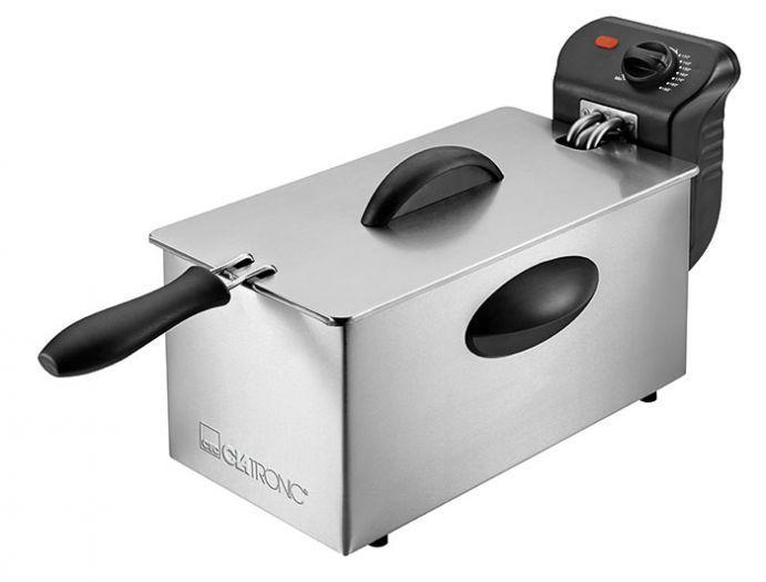 Clatronic FR 3586 Inox фритюрницаFR 3586 InoxФритюрница Clatronic FR 3586 очень проста и удобна в использовании. Она имеет мощность 2000 Вт, что способствует приготовлению вкусных блюд за небольшой промежуток времени. Ненагреваемая откидная крышка оснащена смотровым окошком. Емкость для масла объемом 3л изготовлена из антипригарных материалов. Управление фритюрницы сенсорное, регулируемый термостат имеет светодиодную подсветку.