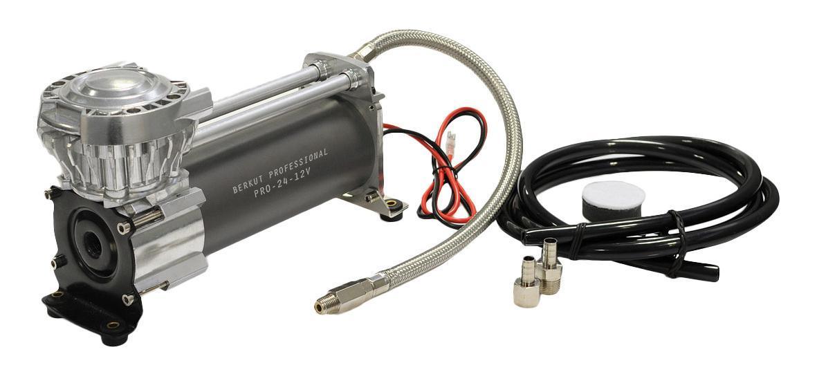 Компрессор автомобильный BERKUT PRO-24PRO-24Компрессор Berkut PRO-24 - это компрессор поршневого типа, который легко и без особого труда поможет накачать спущенное колесо. Также можно накачать резиновую лодку, матрац, шину велосипеда и многое другое. Данная модель предназначена для работы в паре с ресивером (резервуаром для сжатого воздуха). Устройство характеризуются водо- и пыленепроницаемостью, а также устойчиво к перепадам температур.