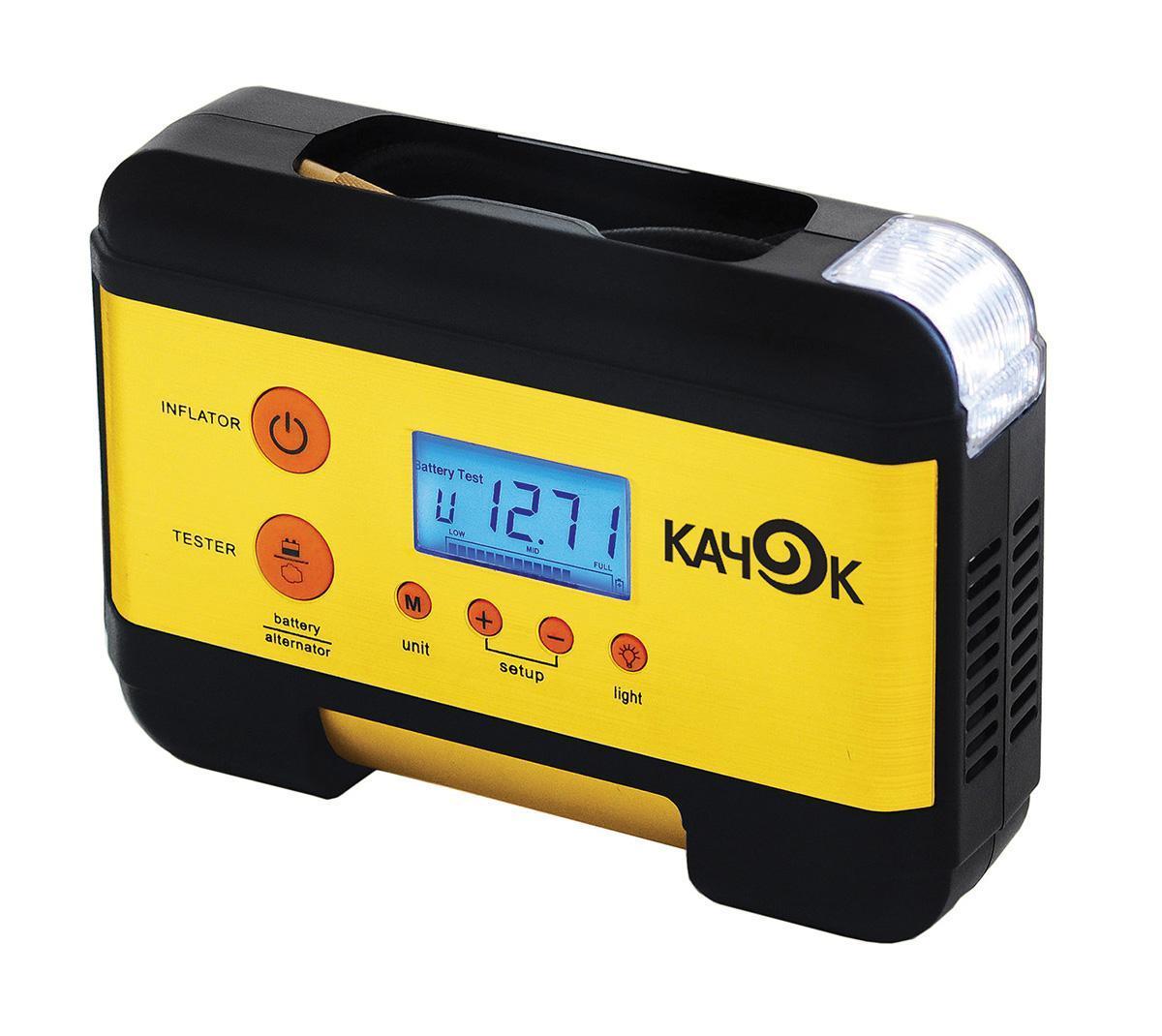 Компрессор автомобильныйКАЧОК K60K60Технические характеристики компрессора автомобильного Качок К 60Напряжение 12 В Допустимое напряжение: 10-13,5 В Максимальный ток потребления: 12 А Максимальное давление: 7 Атм. (кг/см2) Время непрерывной работы: не более 20 мин. Производительность: 35 л/мин. Рабочая температура: -30°С +40°С Тип мотора: Двигатель постоянного тока, коллекторного типа Размер устройства: 210х150х65 мм. Навинчивающаяся насадка на ниппель колеса Подключение в гнездо прикуривателя Насадки-штуцеры для надувных изделий 3шт. Яркий светодиодный фонарь - 2 режима работы Многофункциональный ЖК-дисплей Цифровой электронный манометр - 2 шкалы измерения Инструкция по эксплуатации Комплект поставки: Компрессор Качок К 60 Набор переходных штуцеров для надувных изделий - 3 шт. Инструкция по эксплуатации Упаковочная коробка Материал: металл, пластик; цвет: желтый Материал: металл, пластик; цвет: желтый