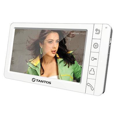 Tantos Amelie, White монитор видеодомофона00-00014983Tantos Amelie white - простой и изящный видеодомофон в белом цвете с большим цветным экраном Amelie. Видеодомофон Tantos Amelie оснащен экраном размером 7, имеет возможность подключения до 2-х вызывных панелей и еще 2-х дополнительных камер. Крепится на стену накладным способом, на кронштейн, который идет в комплекте поставки. Габариты 210 х 116 х 25 мм. Модель выполнена в белом цвете.Она совместима со всеми современными цветными вызывными панелями. Питание монитора осуществляется от сети 220В. Связь осуществляется по принципу Hands Free (громкая, без трубки). Управление видеодомофоном осуществляется кнопками на передней панели. Меню полностью на русском языке, поддерживает подключение до 4-х мониторов параллельно. Так же возможно подключение к подъездному домофону с помощью модуля сопряжения.