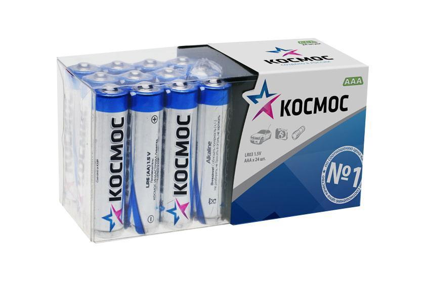 Набор алкалиновых батареек KOSMOS, тип LR03 (ААА), 24 штKOCLR03_24BOXАлкалиновые элементы питания KOSMOS специально разработаны для приборов с высоким энергопотреблением. Одна алкалиновая батарейка заменяет до 10 обычных (солевых батареек). Не содержат кадмия и ртути. Батареи отлично подойдут для использования в различных электронных устройствах небольшого размера, например в пультах дистанционного управления, портативных MP3-плеерах, фотоаппаратах, различных беспроводных устройствах. Характеристики:Тип элемента питания: AAА (LR03). Тип электролита: щелочной. Выходное напряжение: 1,5 В. Комплектация: 24 шт. Размеры батареек: 4,5 см x 1 см x 1 см. Размер упаковки: 5 см x 8,5 см x 4,5 см. Характеристики:Тип элемента питания: AAА (LR03). Тип электролита: щелочной. Выходное напряжение: 1,5 В. Комплектация: 24 шт. Размеры батареек: 4,5 см x 1 см x 1 см. Размер упаковки: 5 см x 8,5 см x 4,5 см.