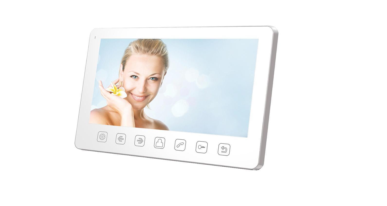 Tantos Amelie Slim, White монитор видеодомофона00-00016195Tantos Amelie Slim белый - простой и изящный видеодомофон в белом цвете с большим цветным экраном Amelie. Видеодомофон Tantos Amelie Slim оснащен экраном размером 7, имеет возможность подключения до 2-х вызывных панелей и еще 2-х дополнительных камер. Крепится на стену накладным способом, на кронштейн, который идет в комплекте поставки. Габариты 185 х 127 х 17 мм. Он совместим со всеми современными цветными вызывными панелями. Питание монитора осуществляется от сети 220В. Связь осуществляется по принципу Hands Free (громкая, без трубки). Управление видеодомофоном осуществляется кнопками на передней панели. Меню полностью на русском языке, поддерживает подключение до 4-х мониторов параллельно. Также возможно подключение к подъездному домофону с помощью модуля сопряжения.
