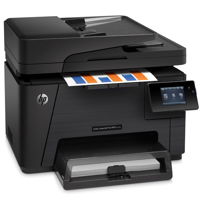 HP LaserJet Pro M177fw (CZ165A) МФУCZ165AHP LaserJet Pro M177fw (CZ165A) - идеальное решение для работы компаний, которым необходимо повысить производительность и выполнять печать маркетинговых материалов профессионального качества прямо в офисе. Цветное МФУ HP Color LaserJet Pro обеспечивает яркие и насыщенные цвета при печати, сканировании и копировании. Это компактное МФУ может размещаться в ограниченном пространстве. С его помощью можно завершать задания печати, не прилагая много усилий. Выполнение заданий копирования большого объема осуществляется с помощью устройства автоматической подачи документов на 35 страниц, пока вы занимаетесь другим делом. Расширение возможностей устройства доступно благодаря поддержке разнообразных типов носителей. Печать первой страницы производится за считанные секунды.Запуск каждой задачи выполняется всего несколькими простыми касаниями на сенсорном дисплее с диагональю 7,6 см. Доступно также использование приложений, упрощающих управление документами. МФУ позволяет осуществлять удобное копирование обеих сторон двухстороннего удостоверения личности или других небольших документов на одной стороне листа. Технология HP Auto-On/Auto-Off включает принтер, когда это необходимо, и выключает, когда он не используется. С помощью технологий HP ePrint и Apple AirPrint вам доступна печать практически из любого места со смартфона, планшета и ПК.