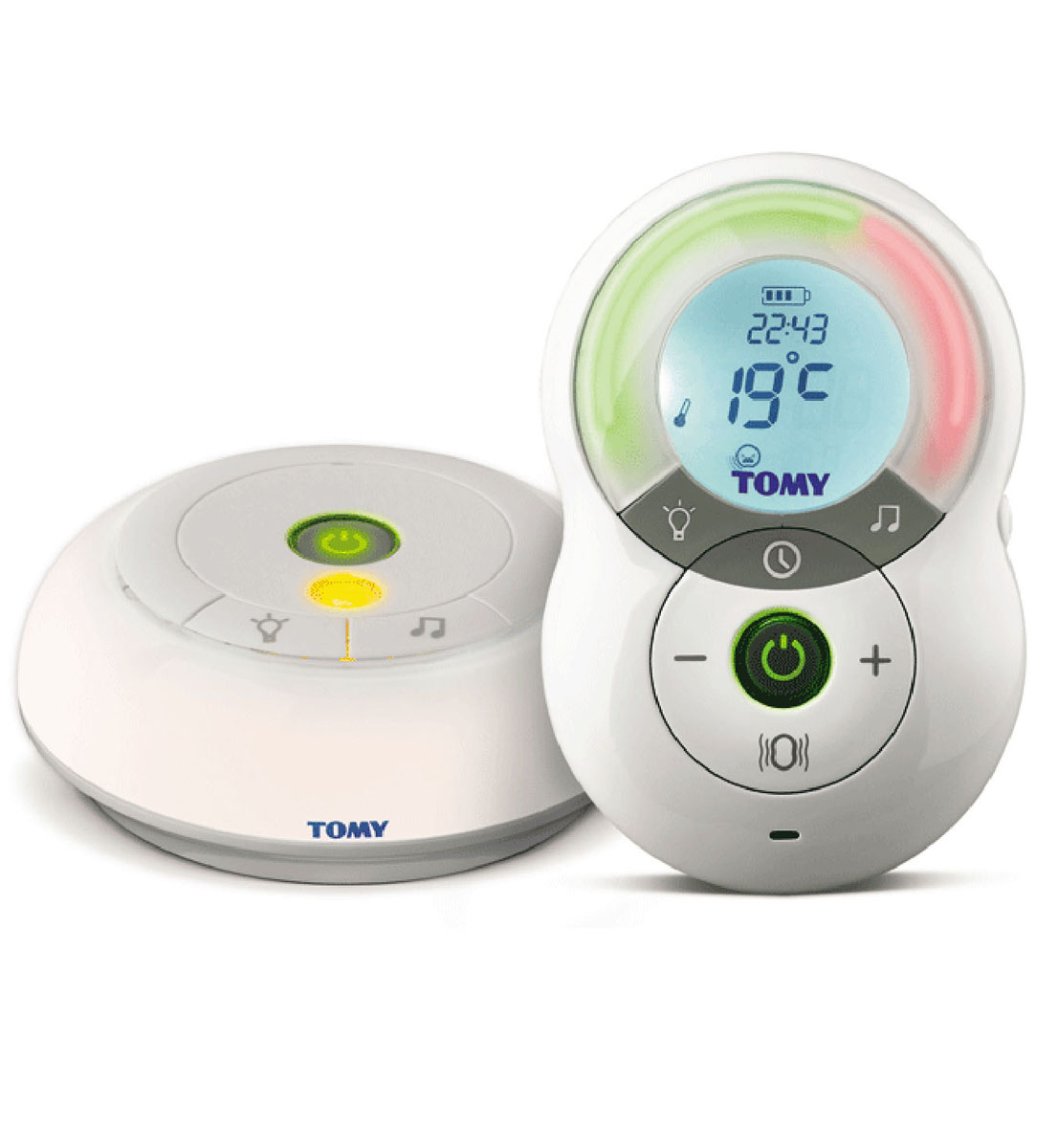 Tomy Digital Monitor ТF550 - цифровая радионяня с автоматическим выбором наилучшего канала связи. Кристально чистый звук и 100% конфиденциальность! Радионяня с большим ЖК-дисплеем, на котором отображаются часы, тепература в комнате ребенка, заряд батареи и подключенные функции. Родительский блок радионяни укомплектован удобной клипсой для ношения на поясе. Для дополнительной визуальной информации родительский блок оснащен светодиодной индикацией звука. Для оповещения, в случае потери связи между родительским и детским блоком, радионяня снабжена специальным индикатором, который так же оповещает о низком уровне зараяда батареи. Ночник в детском блоке управляется дистанционно с родительского блока. Так же, с родительского блока, можно включить одну из нескольких колыбельных мелодий.