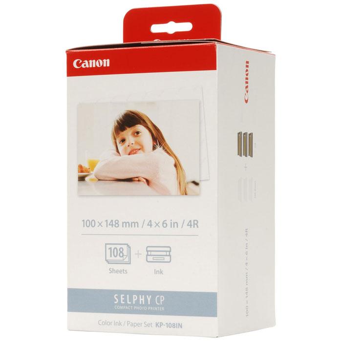 Canon KP-108IN (3115B001) бумага + Сolor красители для CP-100/200/220/300/330/400/500/600/510/7103115B001Комплект Canon KP-108IN для термосублимационных принтеров Canon Selphy рассчитан на 108 стандартных отпечатков формата открытки. Формат 100 x 148 мм широко используется для фотоальбомов и фоторамок.