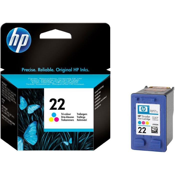 HP C9352AE (22) трехцветный струйный картриджC9352AEТрехцветный картридж HP 22 с чернилами для струйных принтеров HP. Печатайте долговечные фотографии.