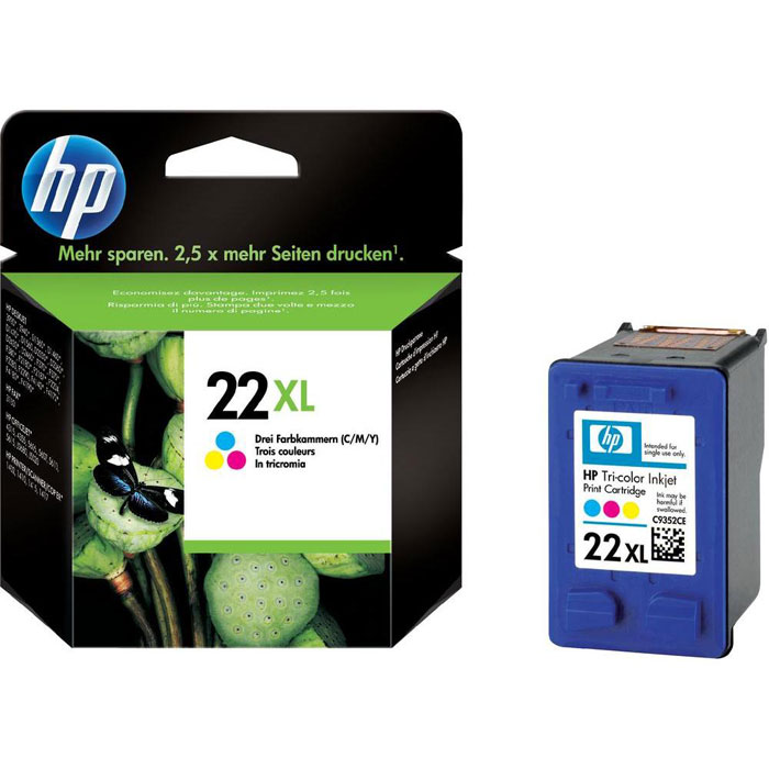 HP C9352CE (22 XL) трехцветный струйный картриджC9352CEСтруйные трехцветные картриджи HP 22XL предназначены для крупнотиражной печати при меньшем количестве
