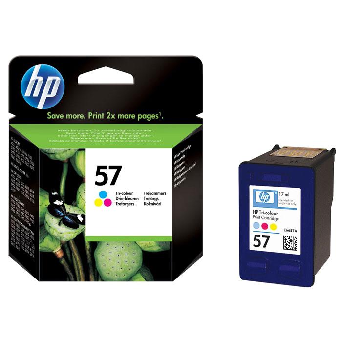 HP C6657AE (57) трехцветный струйный картриджC6657AEТрёхцветный картридж HP 57 обеспечивает неизменно выдающиеся цвета, удовлетворяющие самым