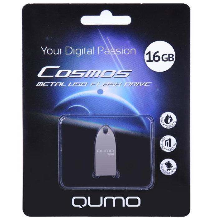 QUMO Cosmos 16GB, Silver USB-накопитель19480Уникальная флэшка QUMO Cosmos – это надежное, современное устройство для хранения и перемещения информации. Обтекаемый ультрапрочный корпус из цинкового сплава превосходно защищает флешку от механических повреждений. Отсутствие колпачка делает использование QUMO Cosmos максимально удобным, а благодаря использованию СОВ технологии производства флеш-чипов, накопитель является влагозащищённым.