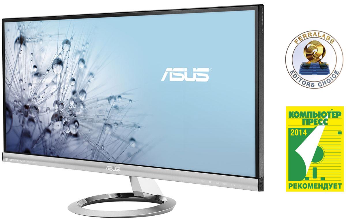 ASUS MX299Q, Black монитор90LM0080-B01170Asus MX299Q - 29-дюймовый монитор с разрешением 2560 х 1080 пикселей и соотношением сторон экрана 21:9. Помимо большого экрана, эта модель может похвастать точной цветопередачей и высоким качеством звука встроенной аудиосистемы.Благодаря разрешению 2560 x 1080 пикселей, 29-дюймовый монитор MX299Q предлагает на 33% больше экранного пространства по сравнению с обычными моделями формата Full-HD. Такой экран придется по вкусу пользователям профессиональных приложений, которым раньше приходилось подключать для продуктивной работы дополнительный монитор. Соотношение сторон экрана 21:9 идеально подходит для просмотра широкоэкранных фильмов. Дисплей, изготовленный по технологии AH-IPS, обеспечивает прекрасную цветопередачу, делая MX299Q идеальным решением как для работы, так и для домашнего использования. Высокому качеству изображения способствуют и широкие углы обзора - 178° и по горизонтали, и по вертикали.В данной модели реализована разработанная специалистами ASUS и Bang & Olufsen ICEpower технология SonicMaster, представляющая собой комплекс аппаратных и программных средств улучшения качества звука. Благодаря аудиоконтроллеру MobileSound 3 и двум встроенным 3-ваттным динамикам этот монитор превосходит свои аналоги с точки зрения мультимедийной функциональности. Поскольку MX299Q обладает чрезвычайно тонким корпусом, реализовать в нем встроенную аудиосистему было непросто. Тем не менее, у этой модели имеются 32-миллиметровые динамики и резонатор объемом до 100 куб. см, обеспечивающие высокую громкость и мощное воспроизведение низких частот.Монитор оснащен полноценным комплектом интерфейсов для подключения к различным видеоисточникам, в который входят DisplayPort, двухканальный DVI и HDMI (с поддержкой интерфейса MHL для мобильных устройств).MX299Q обладает тонким корпусом (минимальная толщина - всего лишь 16,4 мм) и очень узкой рамкой вокруг экрана. Дизайн серии Designo MX заслужил награду японского конкурса Good Design 2012, а ко