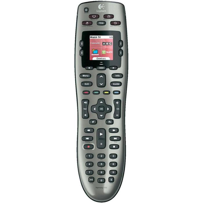 Logitech Harmony 650 (915-000161) пульт ДУ915-000161Logitech Harmony 650 (915-000161) - универсальный пульт, который поддерживает более 5000 торговых марок и 225000 устройств. Сделайте первый шаг по пути упрощения своей домашней мультимедийной системы.Цветной экранНа дисплее отображается нужная в данный момент информация , например значки ваших любимых каналов или команды управления используемыми устройствами. Более того, при необходимости на экран выводится справка по используемым функциям.Кнопки часто выполняемых действийБольше не нужно запоминать сложные последовательности включения устройств и кнопок, которые нужно нажать. После настройки вам достаточно выбрать, какое действие выполнить (например «Просмотр DVD»), а пульт Harmony сделает все остальное.Пошаговая интернет-настройкаВы подключаете пульт ДУ к компьютеру и сообщаете список устройств, которыми пульт должен управлять. Затем можно откинуться на спинку стула — наше интерактивное программное обеспечение поможет выполнить процесс настройки.Кнопки пульта сгруппированы по назначению и имеют специальную форму, помогающую на ощупь находить нужную кнопку, а также снабжены подсветкой, которая поможет не потеряться в темноте.