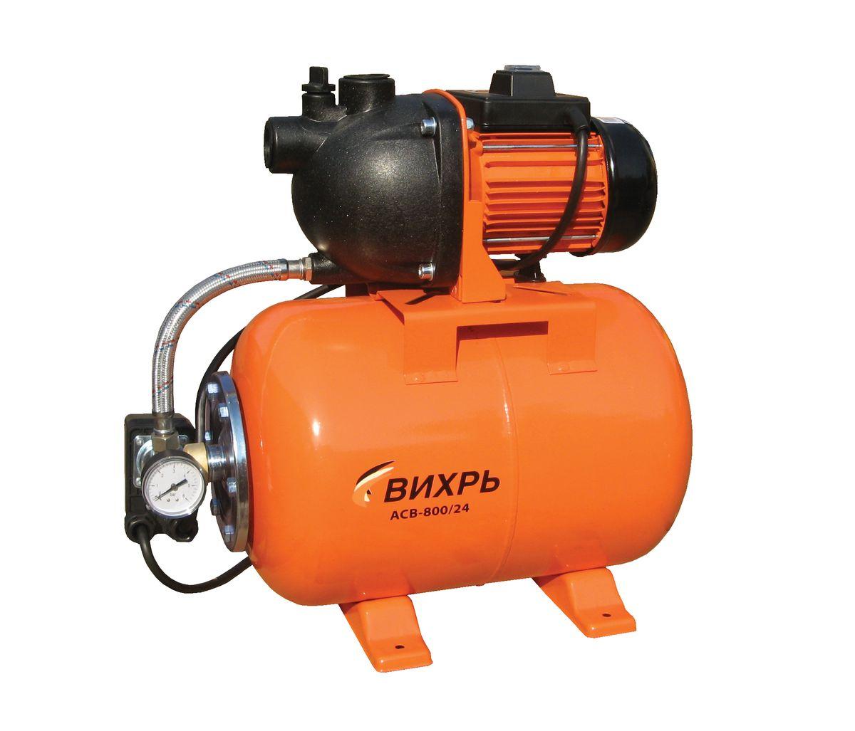 Насосная станция Вихрь АСВ-800/2468/1/1Насосная станция Вихрь АСВ-800/24 предназначена для бесперебойного водоснабжения в автоматическом режиме, коттеджей, дач, ферм и других потребителей. При этом она автоматически поддерживает необходимое давление в системе водоснабжения, самостоятельно включаясь и отключаясь по мере расходования воды потребителями.Встроенный датчик давления обеспечивает автоматическое включение насоса в случае необходимости. Гидроаккумулятор служит для аккумулирования воды под давлением и сглаживания гидроударов. Он состоит из стального резервуара со сменной мембраной из пищевой резины и имеет пневмоклапан для закачивания сжатого воздуха.Насос со встроенным эжектором, сочетает преимущества центробежных с практичностью самовсасывающих насосов. Встроенный внутренний эжектор с системой труб Вентури обеспечивает хорошие условия всасывания на входе в насос и позволяет создать высокое давление на выходе. Они позволяют перекачивать воду с меньшими, по сравнению с обычными центробежными насосами, требованиями к чистоте и наличию растворенных газов. Рабочее колесо и проточный блок направляющий аппарат - трубка Вентури - сопло выполнены из износостойких пластических материалов.Насосная станция не может использоваться на открытом воздухе при температуре окружающей среды ниже +1°С. Запрещается перекачивание горячей (выше +50°С) воды.