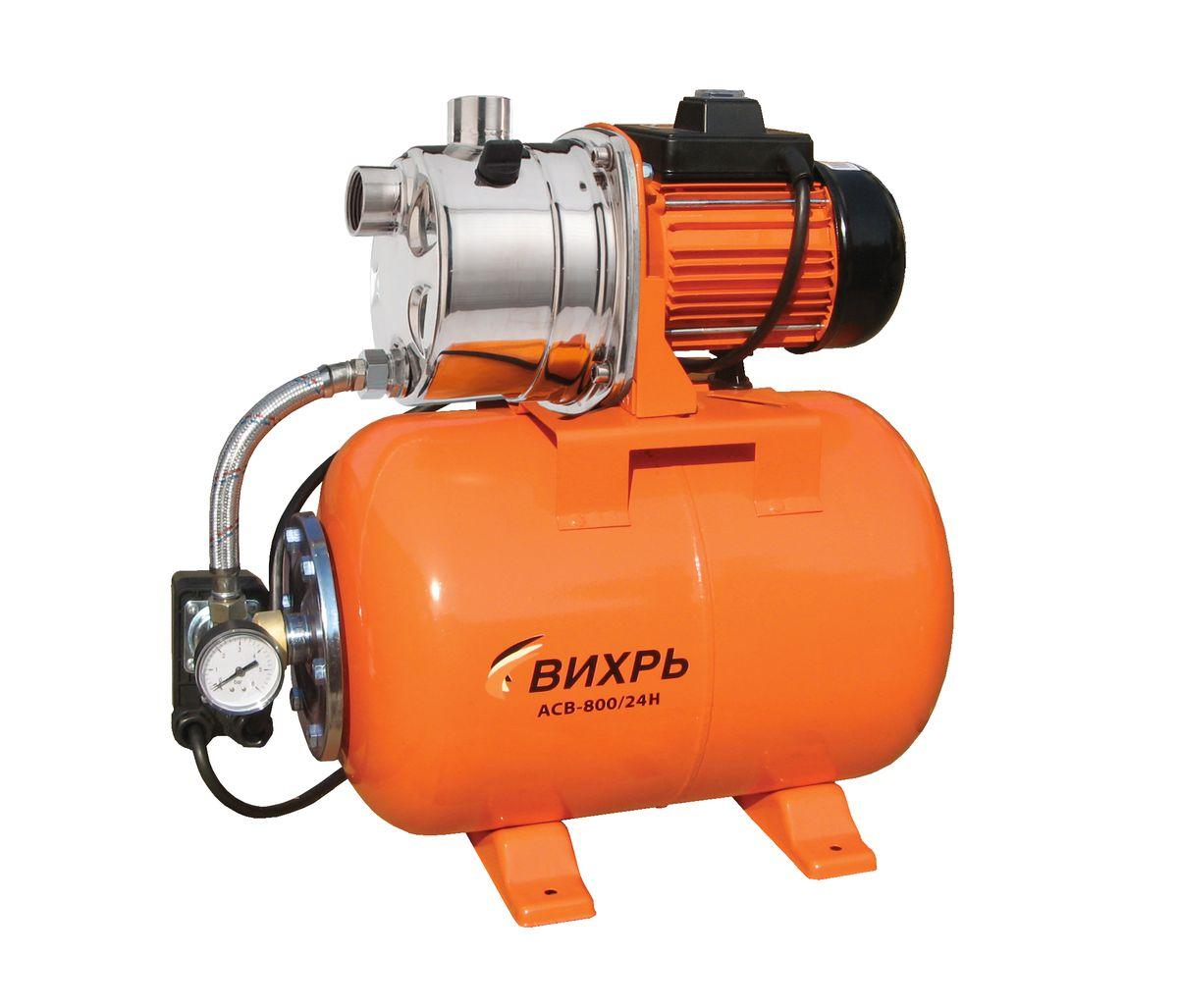 Насосная станция Вихрь АСВ-800/24Н68/1/7Насосная станция Вихрь АСВ-800/24Н предназначена для бесперебойного водоснабжения в автоматическом режиме, коттеджей, дач, ферм и других потребителей. При этом она автоматически поддерживает необходимое давление в системе водоснабжения, самостоятельно включаясь и отключаясь по мере расходования воды потребителями.Встроенный датчик давления обеспечивает автоматическое включение насоса в случае необходимости. Гидроаккумулятор служит для аккумулирования воды под давлением и сглаживания гидроударов. Он состоит из стального резервуара со сменной мембраной из пищевой резины и имеет пневмоклапан для закачивания сжатого воздуха.Насос со встроенным эжектором, сочетает преимущества центробежных с практичностью самовсасывающих насосов. Встроенный внутренний эжектор с системой труб Вентури обеспечивает хорошие условия всасывания на входе в насос и позволяет создать высокое давление на выходе. Они позволяют перекачивать воду с меньшими, по сравнению с обычными центробежными насосами, требованиями к чистоте и наличию растворенных газов. Рабочее колесо и проточный блок направляющий аппарат - трубка Вентури - сопло выполнены из износостойких пластических материалов.Насосная станция не может использоваться на открытом воздухе при температуре окружающей среды ниже +1°С. Запрещается перекачивание горячей (выше +50°С) воды.