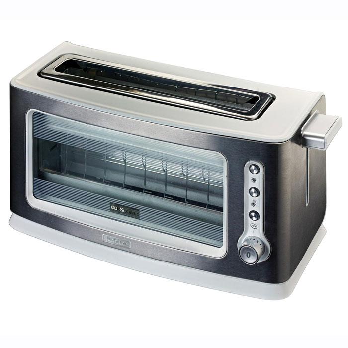 Ariete Look & Toast тостер (111)111Ariete Look & Toast является инновационным тостером. Прозрачное окно позволяет проверить в любое время уровень поджаривания тостов. Готовка с галогенной лампой обеспечивает плавный и равномерный нагрев. Термостат регулируется для выбора желаемой степени готовности, и, благодаря автоостановке и автоматического выбору ломтиков, нет никакой опасности неприятных ожогов. Также тостер имеет функции размораживания и подогрева и оборудован поддоном для крошек.Тостер Jacob Jensen One-Slot Toaster II имеет стилистический сдержанный и уникальный облик, столь свойственный марке Jacob Jensen. Он понравится тем, кто прежде всего ценит удобство и продуманную функциональность. Прибор не только приготовит для вас румяные хрустящие тосты, но также разморозит или разогреет круассаны или другую выпечку. Вы можете выбрать одну из 9 степеней поджаривания тостов, и сохранить данные о своих предпочтениях в памяти тостера.