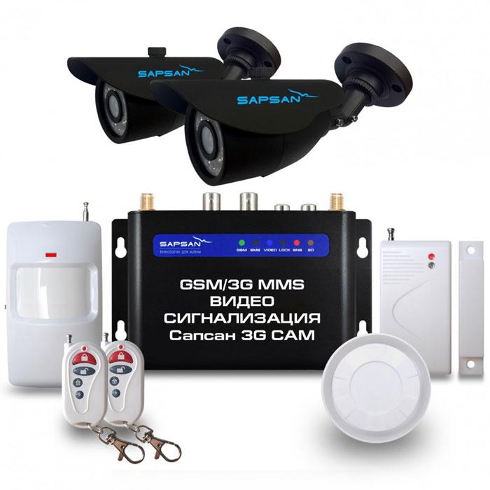 Sapsan 3G CAM Дача GSM-сигнализация (2 камеры)Sapsan 3G CAM ул2к (Дача)Беспроводная система Sapsan MMS 3G-CAM предназначена для дистанционного контроля и охраны недвижимости, путем получения SMS сообщений, MMS сообщений и звонков на заранее записанные номера телефонов абонентов (до 10 номеров). В данной системе есть возможность подключения двух аналоговых камер, кроме того, система также совершает видеозвонок с последующей записью на SD карту. На данный момент это самая инновационная и совершенная система , которая сможет защитит практически любой вид имущества, не только от злоумышленников, но от техногенных случаев.Стальной и прочный корпус делает систему максимально приспособленной к любому техногенному случаю, будь то пожар или человеческий фактор. Система приспособлена работать в суровых условиях, готова к сильным перепадам температур от -40С до +50С, что является большим преимуществом на российском рынке. Выносной морозостойкий и влагозащищенный термодатчик, благодаря которому осуществляется контроль отопления. Датчик работает в широком температурном диапазоне: от -55С до +125С. Удаленное управление устройствами позволяет управлять системой не только по заданным вами изначально настройкам, но и дистанционно из любой точки страны и мира 24 часа в сутки, 7 дней в неделю (низкие эксплуатационные расходы).При тревоге любого датчика из зоны рассылается SMS/MMS сообщение с номером сработавшей зоны или/и совершается звонок. Сообщения приходят пользователю на русском языке. Текст сообщений возможно изменять. В каждой из зон (всего 4) можно разместить от 1 и более беспроводных датчиков. Разделение по зонам помогает создать нужную вам структуру охраны. Зоны можно переименовывать, чтобы вам было легче ориентироваться и понять, откуда был сигнал тревоги, например: кухня, коридор, гостиная, чердак или пожарные, разбитие стекла, протечка газа и другие. На каждой проводной зоне может быть подключено до 10 проводных датчиков по шлейфу. При тревоге проводных датчиков сигнал пе