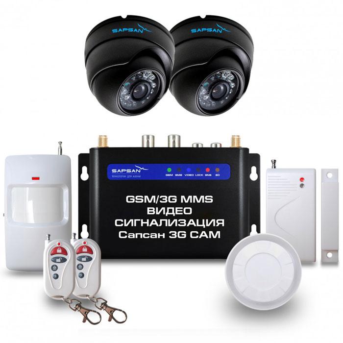 Sapsan 3G CAM Дом GSM-сигнализация (2 камеры)Sapsan 3G CAM 2к (Дом)Беспроводная система Sapsan MMS 3G-CAM предназначена для дистанционного контроля и охраны недвижимости, путем получения SMS сообщений, MMS сообщений и звонков на заранее записанные номера телефонов абонентов (до 10 номеров). В данной системе есть возможность подключения двух аналоговых камер, кроме того, система также совершает видеозвонок с последующей записью на SD карту. На данный момент это самая инновационная и совершенная система , которая сможет защитит практически любой вид имущества, не только от злоумышленников, но от техногенных случаев.Стальной и прочный корпус делает систему максимально приспособленной к любому техногенному случаю, будь то пожар или человеческий фактор. Система приспособлена работать в суровых условиях, готова к сильным перепадам температур от -40С до +50С, что является большим преимуществом на российском рынке. Выносной морозостойкий и влагозащищенный термодатчик, благодаря которому осуществляется контроль отопления. Датчик работает в широком температурном диапазоне: от -55С до +125С. Удаленное управление устройствами позволяет управлять системой не только по заданным вами изначально настройкам, но и дистанционно из любой точки страны и мира 24 часа в сутки, 7 дней в неделю (низкие эксплуатационные расходы).При тревоге любого датчика из зоны рассылается SMS/MMS сообщение с номером сработавшей зоны или/и совершается звонок. Сообщения приходят пользователю на русском языке. Текст сообщений возможно изменять. В каждой из зон (всего 4) можно разместить от 1 и более беспроводных датчиков. Разделение по зонам помогает создать нужную вам структуру охраны. Зоны можно переименовывать, чтобы вам было легче ориентироваться и понять, откуда был сигнал тревоги, например: кухня, коридор, гостиная, чердак или пожарные, разбитие стекла, протечка газа и другие. На каждой проводной зоне может быть подключено до 10 проводных датчиков по шлейфу. При тревоге проводных датчиков сигнал переда