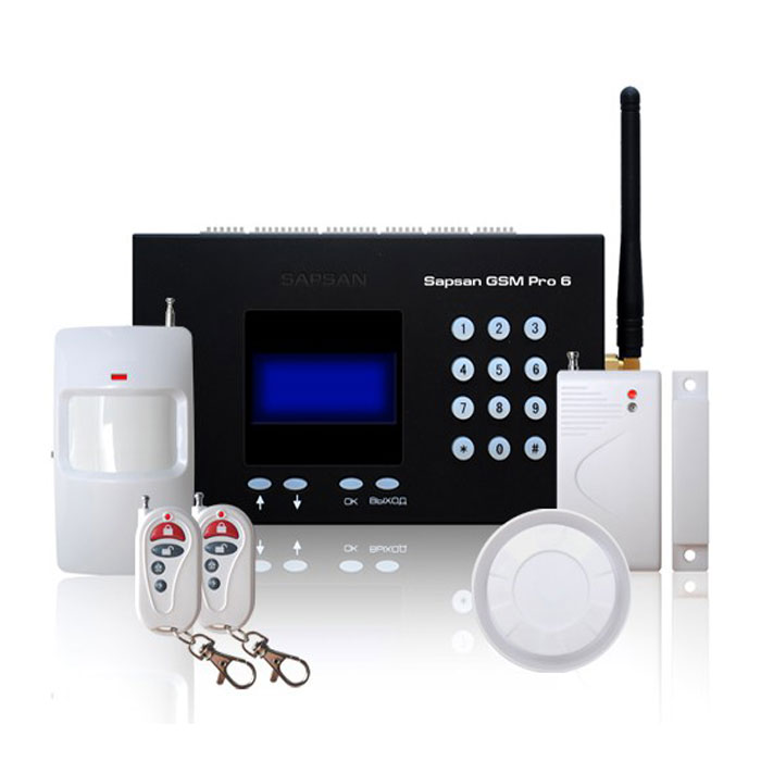 Sapsan GSM Pro 6 Умный дом GSM-сигнализация c датчикамиУмный домБеспроводная система Sapsan GSM PRO 6 предназначена для дистанционного контроля и охраны объектов недвижимости.Система поддерживает подключение неограниченного числа беспроводных датчиков, которые можно разделить по 12 различным группам (зонам охраны). При срабатывании любого датчика из группы рассылается сообщение с номером сработавшей зоны. Сообщения приходят пользователю на русском языке. Текст сообщений возможно изменять.4 цифровых входа (проводные зоны) позволяют подключать до 40 проводных датчиков (на каждую зону не более 10 датчиков). При этом каждая зона позволяет настроить тип срабатывания датчиков подключаемых к ней НЗ/НО. Срабатывания проводных датчиков передаются на заранее записанные в память устройства номера абонентов (10 номеров) в виде текстовых сообщений.Наличие GSM-модема позволяет своевременно оповестить владельца о неправомерных вторжениях на объект, понижениях температуры, влажности и других технологических характеристик помещения.Система Sapsan GSM PRO 6 позволяет управлять различными устройствами (в систему входят 3 релейных выхода, а также 5 выходов типа «открытый коллектор»), как дистанционно, так и по заранее заданной последовательности действий.Конфигурация параметров системы возможна с помощью SMS сообщений, с помощью специальной программы настройщика, установленной на Вашем персональном компьютере, а также с кнопок на контрольной панели (ограниченный набор настроек).Потребляемый ток: 200 мААнтенный вход: 50 Ом SMA-входРабочая влажность: до 95% без образования конденсатаДиапазон измеряемой температуры: -55…+125°CЧисло беспроводных зон: 12Число проводных зон: 4Число выходов 3 (тип «релейный» 3А/220В) 5 (тип «открытый коллектор») Число входов для термодатчиков 6 (DS18B20)Автономная работа от встроенного АКБ до 12 часов