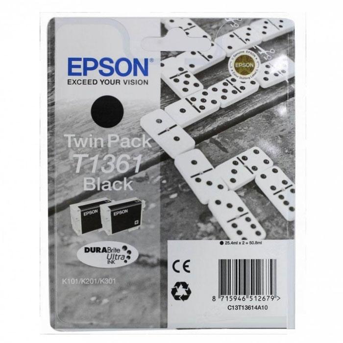 Epson T1361 (C13T13614A10), Black комплект картриджей для K101/K201/K301C13T13614A10Набор Epson T1361 из двух картриджей с черными чернилами для струйных принтеров.