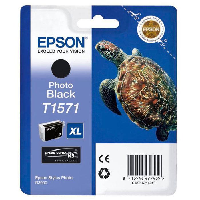 Epson T1571 XL (C13T15714010), Photo Black картридж для Stylus Photo R3000C13T15714010Картридж с чернилами Epson T157 XLдля струйных принтеров.