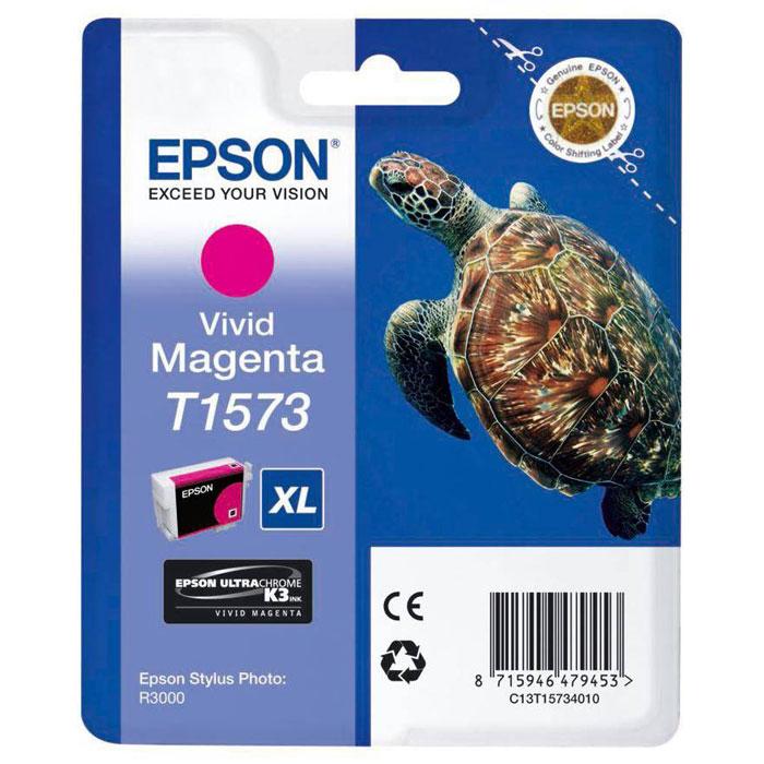 Epson T1573 XL (C13T15734010), Vivid Magenta картридж для Stylus Photo R3000C13T15734010Картридж с чернилами Epson T157 XLдля струйных принтеров.