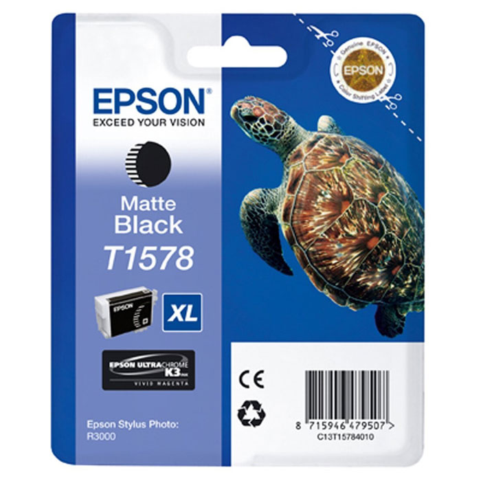 Epson T1578 XL (C13T15784010), Matte Black картридж для Stylus Photo R3000C13T15784010Картридж с чернилами Epson T157 XLдля струйных принтеров.