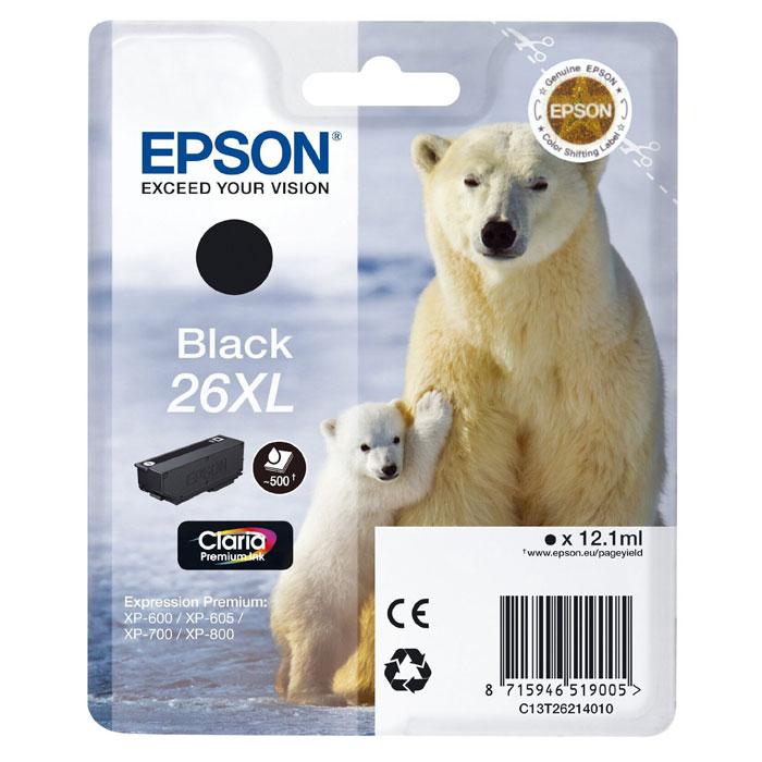 Epson T2621 26XL (C13T26214010), Black картридж для XP600/7/8C13T26214010Картридж с чернилами Epson T2621 26XL повышенной емкости для струйных принтеров.