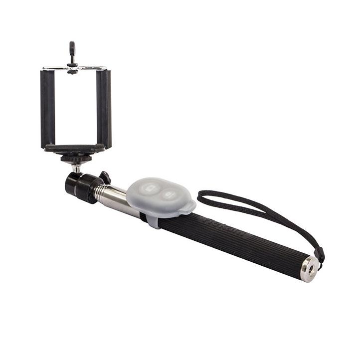 Rekam SelfiPod S-450B, Black беспроводной монопод для селфиS-450BRekam SelfiPod S-450 - простое, и невероятно удобное устройство для создания фотографий в жанре селфи. Конструктивно новый гаджет представляет собой телескопическую «ручку-указку», но с более прочной конструкцией, способной выдержать как смартфон, так и фотокамеру весом до 500 гр. При помощи селфипода вы сможете не только запечатлеть себя в разнообразных ситуациях, но и создать по-настоящему оригинальные кадры.SelfiPod S-450 от Rekam подходит для смартфонов, работающих на базе Android и iOS.SelfiPod S-450 состоит из семи выдвижных секций из стали, диаметром от 18 до 10 мм. В сложенном состоянии длинна селфипода составляет всего 23 см, благодаря чему он с легкостью помещается в небольшой дамской сумочке. В разложенном состоянии максимальная длина составляет 118 см.Благодаря удобной силиконовой ручке и ремешку на запястье, селфипод удобно лежит в руке, и может активно использоваться в повседневной жизни.SelfiPod S-450 оборудован универсальной 3D «головой» с винтовым креплением 1/4 для фото или видео камеры. Поворотный механизм позволяет выбрать наиболее удобный угол наклона и поворота камеры. Спуск затвора осуществляется при помощи пульта дистанционного управления для фото или видеокамеры.Для крепления смартфона в комплект входит специальный кронштейн, позволяющий закрепить смартфоны с экраном до 6.Дополнительное винтовое крепление 1/4 в основании ручки позволяет закрепить селфипод на другом селфиподе, моноподе или штативе, что расширяет возможности съемки.В комплект SelfiPod S-450 входит Bluetooth-пульт, с двумя кнопками - для управления Android и iOS устройствами. Отдельный пульт управления придает дополнительную свободу в съемке. Вы можете установить камеру на удалении и снимать себя в полный рост или делать групповые портреты без использования режима автоспуск.